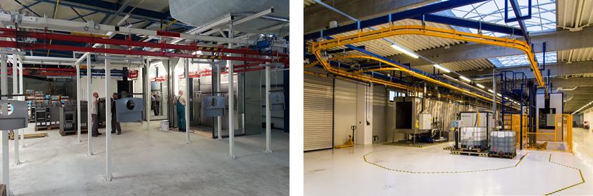 Terítékes festőműhelyek anyagmozgató rendszer